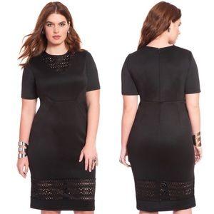 Eloquii Laser Cut Scuba Sheath Dress Black Sz 22